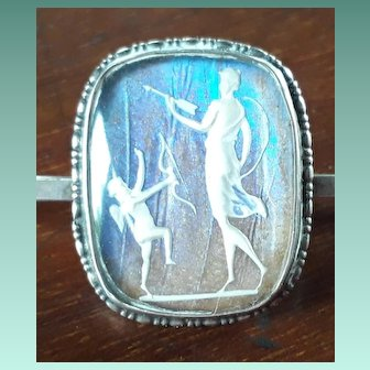 Ethereal Vintage Art Deco Silver and Butterfly Wing Sulphide Brooch