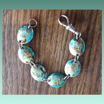 Bright Arts and Crafts Enamelled Bracelet and Silver Dogsnap