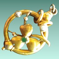 Rich Antique Victorian 15ct Gold, Emerald and Seed Pearl Pendant.