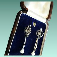 Adorable Antique Edwardian Diamond & Cultured Pearl Dangling Drop Earrings.