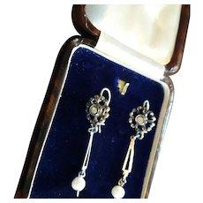 Adorable Antique Edwardian Diamond & Cultured Pearl Dangling Drop Earrings.