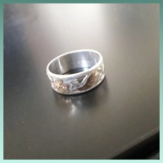 Aesthetic Revival Mid Century Scandinavian Silver and 9ct Gold Flash Ring
