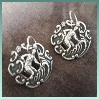 Scarce Pair of HM Sterling Silver Art Deco Dangling Buttons Earrings