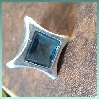 Huge Modernist English Designer HM Sterling Silver Blue Glass Cocktail Ring