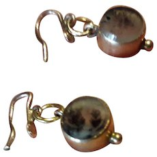 Cute Antique Edwardian 9ct Rose Gold  and Scottish Moss Agate Drop Earrings.