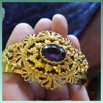 Flamboyant Antique Victorian Gilt Metal and Amethyst Paste Bangle