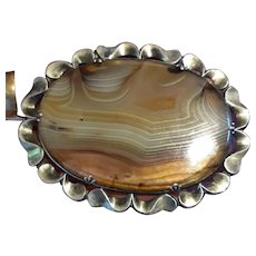 Huge Antique Victorian Scottish Banded Agate & 900+ Silver Brooch Pin