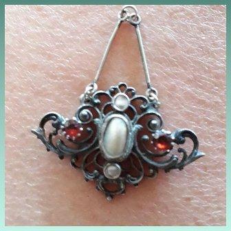Entrancing Antique Art Nouveau Blister Pearl and Garnet Pendant.