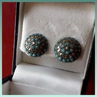 Scarce Vintage Art Deco Button Clip-on Earrings