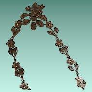 Intricate Antique Cannetille 800 Silver Gilt Floral Lavalier Necklace