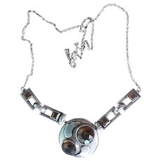 Outstanding Arts and Crafts Scottish Cairngorm Sterling Silver Necklace
