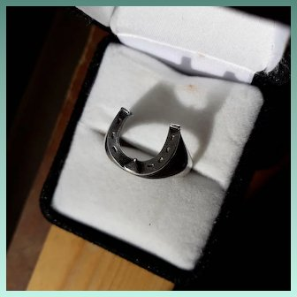Lucky Antique Edwardian Sterling Silver Horseshoe Ring.