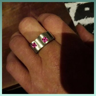 English Modernist Sterling Silver & Pink CZ Statement Ring