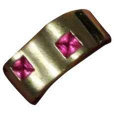 English Modernist Sterling Silver & Pink CZ Statement Ring