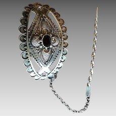 Elegant Vintage Sterling Silver Scarf / Hair Barrette Clip