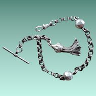 Antique Victorian Continental 800 Silver Albertina Chain Bracelet with Tassel and Bar