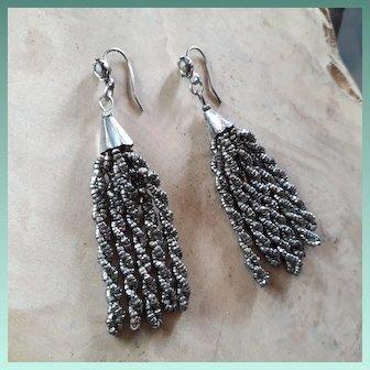 Twirling Antique Victorian Cut Steel Tassel Drop Earrings