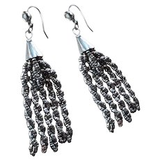 Twirling Antique Victorian Cut Steel Tassel Drop Earrings