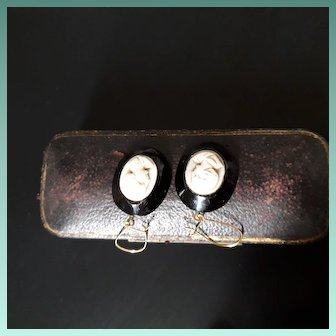Striking Antique Victorian Whitby Jet and Pink Shell Cameo Drop Earrings