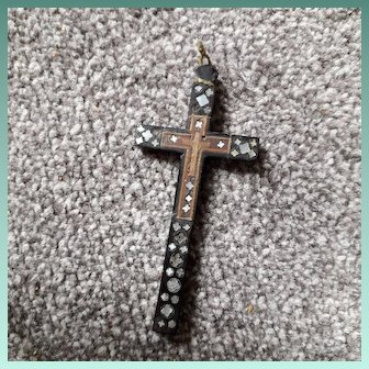 Huge Antique Victorian Whitby Jet ,Oak,Mother 0f Pearl Inlaid Cross Pendant