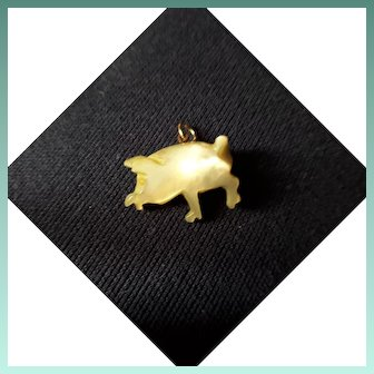 Squealingly Cute Antique Victorian Mother-of-Pearl Carved Pig Charm