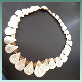 Shimmering Antique Edwardian Hand Carved Mother-of-Pearl Shell Motifs Necklace.