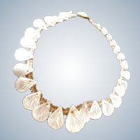 Shimmering Vintage 1940's Hand Carved Mother-of-Pearl Shell Motifs Necklace.