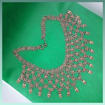 Cascading Antique C19th Cannetille 800 Silver Gilt Bib Necklace