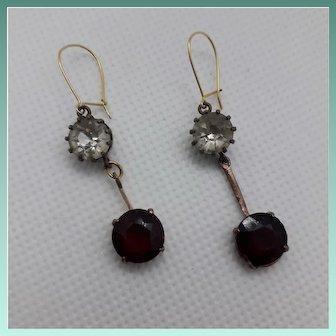Dangling Antique Victorian White & Garnet Glass Paste Drop Earrings