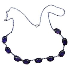 Rich Antique Edwardian Amethyst Glass and Sterling Silver Demi Riviere Necklace