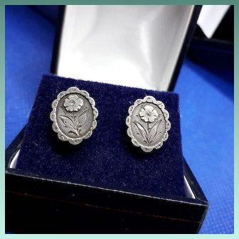Sweet Antique Victorian HM Silver Forget-me-Not Hook Earrings