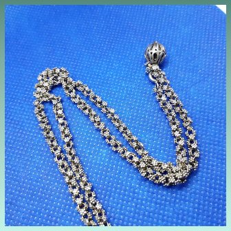 Fine Antique Victorian Hand Tooled 800 Silver Chain Necklace