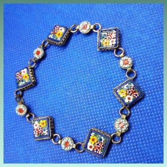 Pristine Antique C19th Italian Micro Mosaic Bracelet.