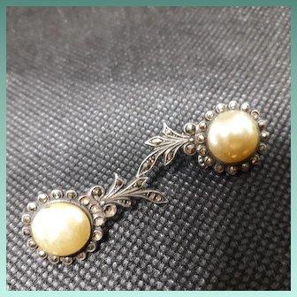 Fabulous 1930's Art Deco Silver Marcasite Clip Earrings