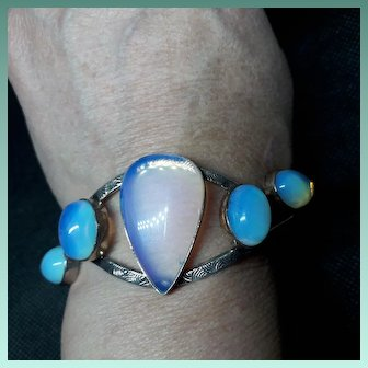 Amazing Vintage Silver and Opaline Bangle