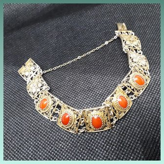 Handcrafted Vintage Italian 800 Silver Gilt and Faux Coral Bracelet