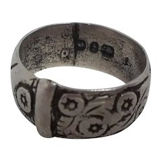 Loved Antique English Hallmarked Silver Buckle Ring