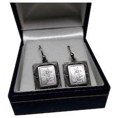 Neat Edwardian Style English Hallmarked Silver Drop Earrings