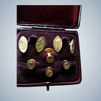 Quality Antique Edwardian Cased Gentleman's Stud Links Set