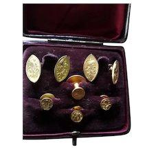 Quality Antique Edwardian Cased Gentleman's Stud Links Set