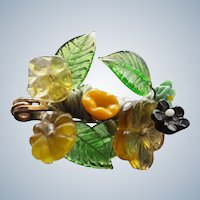 Uniquely Crafted Moulded Glass Flowers Unsigned Pin