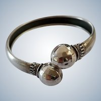 Facetted Antique Victorian 900 Silver Bypass Bangle