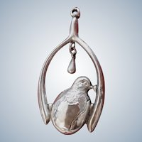 Rare Lucky Antique Edwardian HM Silver Wishbone Chick Pendant