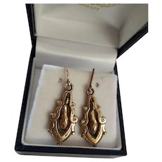 Classy Antique Victorian Rose Rolled Gold Articulated Drop Earrings