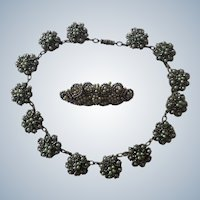 Duo of French Art Deco Pearly Wax and Steel Beads