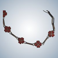Neat Vintage Mexican 950 Silver and Red Enamel Bracelet