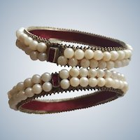 Bridal Pair of Antique C19th Cultured Pearl and Natural Ruby Maharajah Bangles