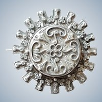 Elaborate Antique Victorian Repousse Silver Brooch