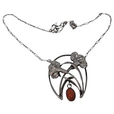 Aesthetic Art Nouveau French 900 Silver ,Coral Necklace
