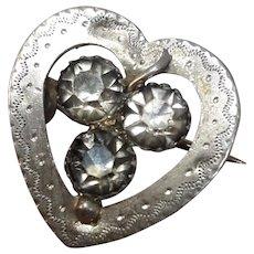 Cute Antique Edwardian HM Silver Heart and Shamrock Brooch